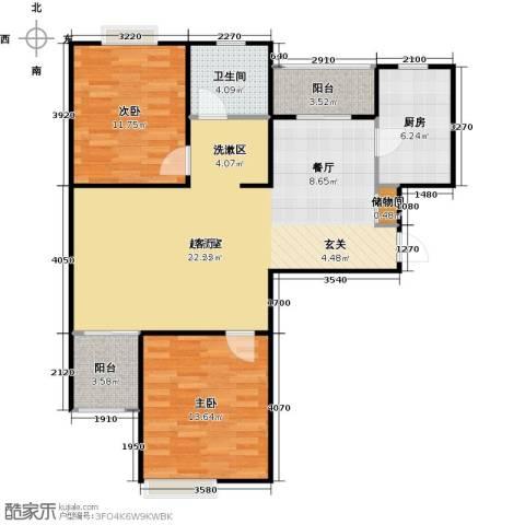 绿地蔷薇九里2室0厅1卫1厨88.00㎡户型图