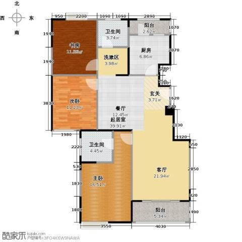绿地蔷薇九里3室0厅2卫1厨110.00㎡户型图