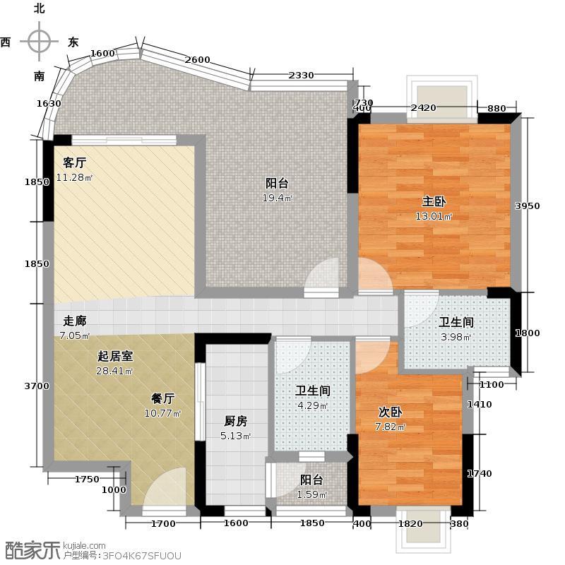 广晟海韵兰庭E2栋标准层04单元户型2室2卫1厨