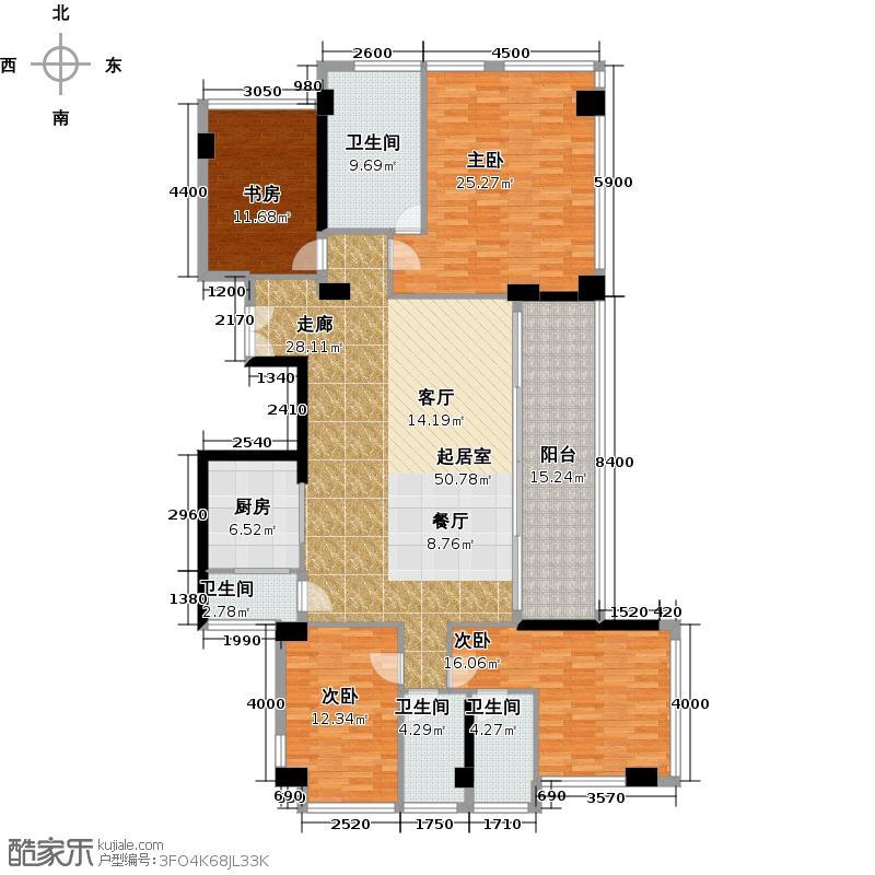 十五�花园175.00㎡C型2-16层4房2厅3卫户型