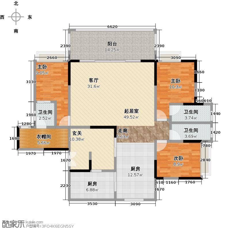 山海阳光云景129.89㎡独栋B单元E+F户型3室2厅3卫户型3室2厅3卫