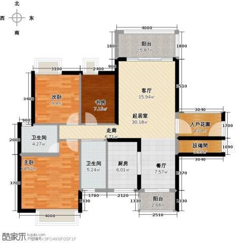 尚品雅居3室0厅2卫1厨105.67㎡户型图