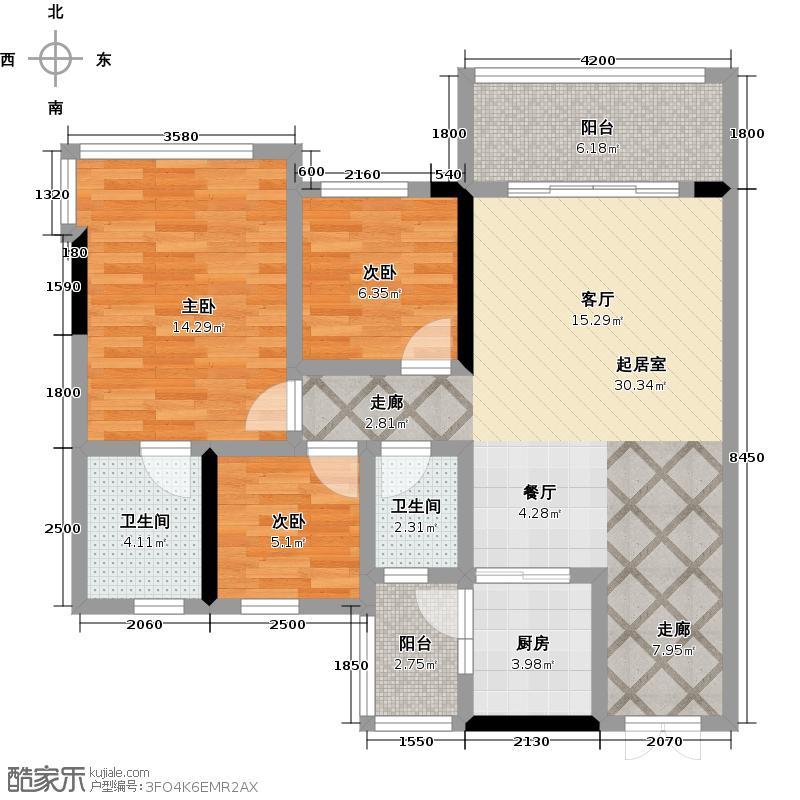 轩逸荟94.82㎡B1栋03户型3房2厅户型3室2厅