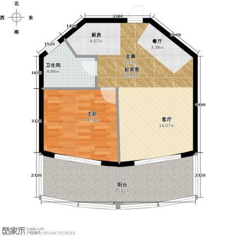 晋唐海湾1室0厅1卫0厨66.01㎡户型图