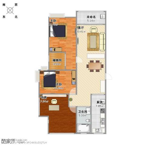 启迪方洲3室1厅1卫1厨137.00㎡户型图