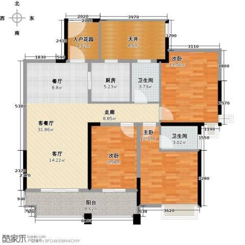 君�花园3室1厅2卫1厨108.00㎡户型图