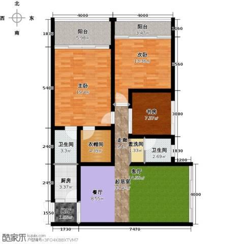 中和龙沐湾・海润源3室0厅2卫1厨127.00㎡户型图