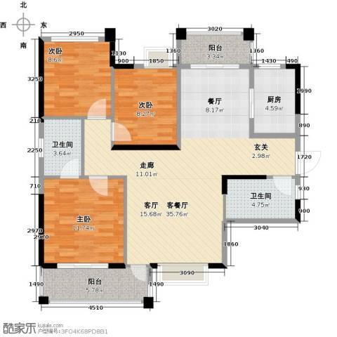 君�花园3室1厅2卫1厨110.00㎡户型图
