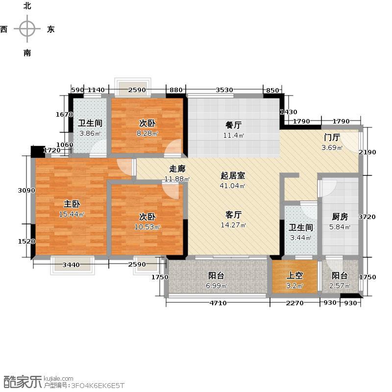 广州时代倾城116.00㎡2栋标准层03房户型3室2厅2卫