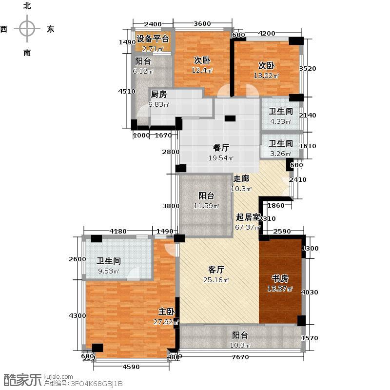 十五�花园190.00㎡D4-15层 4房2厅3卫户型