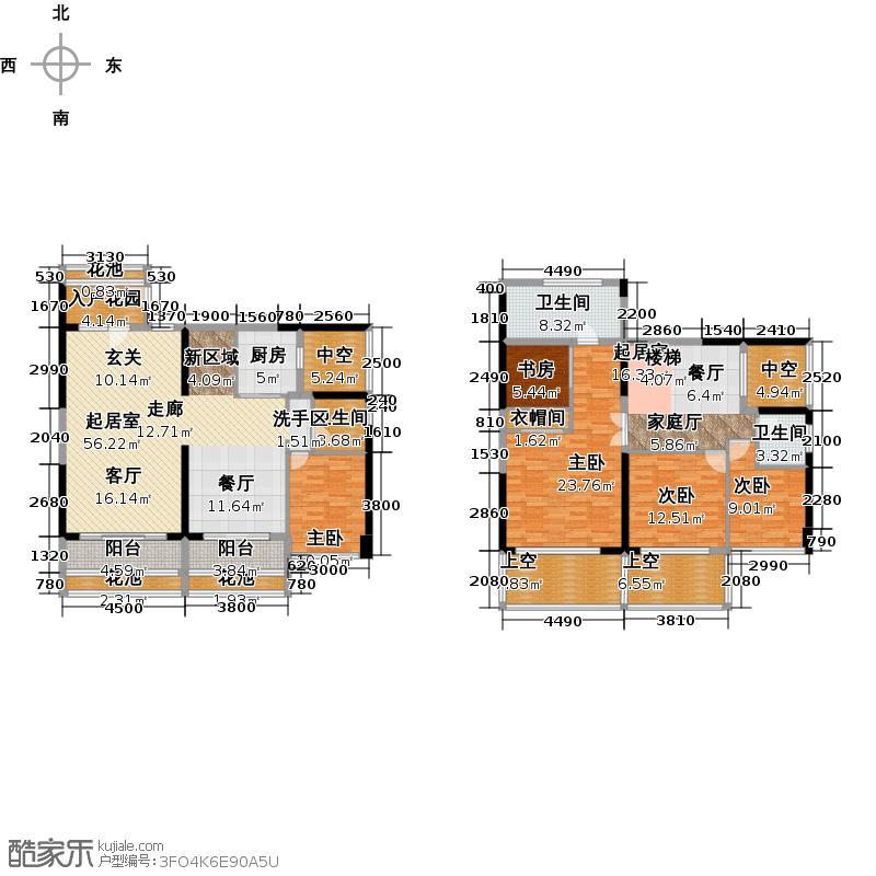 美佳华首誉190.00㎡F座A+B/C+D/E+F户型 五房三厅三卫户型5室3厅3卫