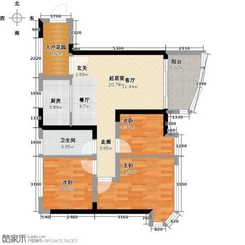 碧桂园十里银滩3室0厅1卫1厨94.00㎡户型图