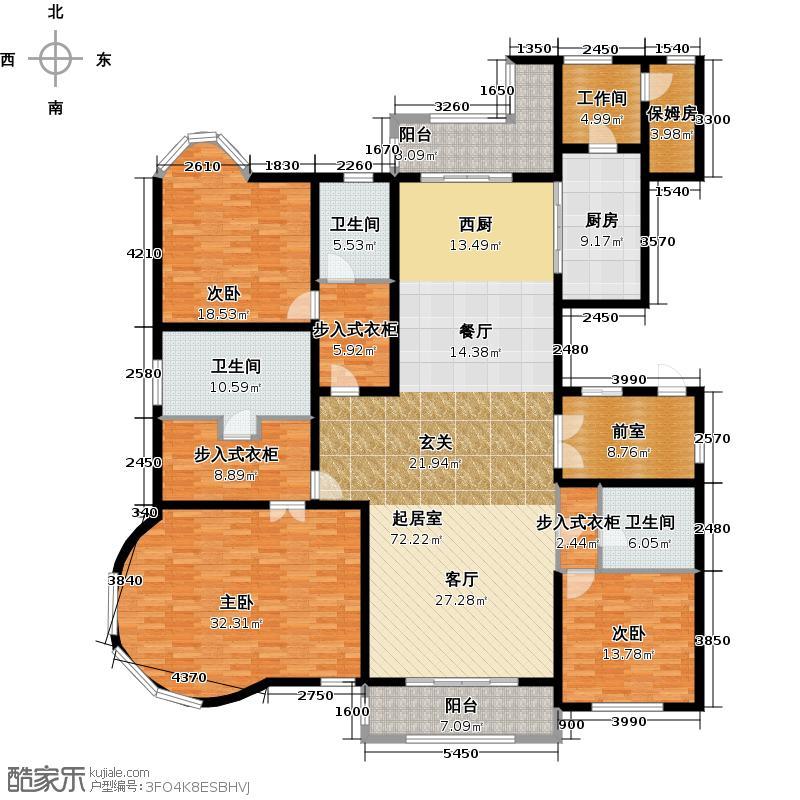 绿洲康城金邸户型3室3卫1厨
