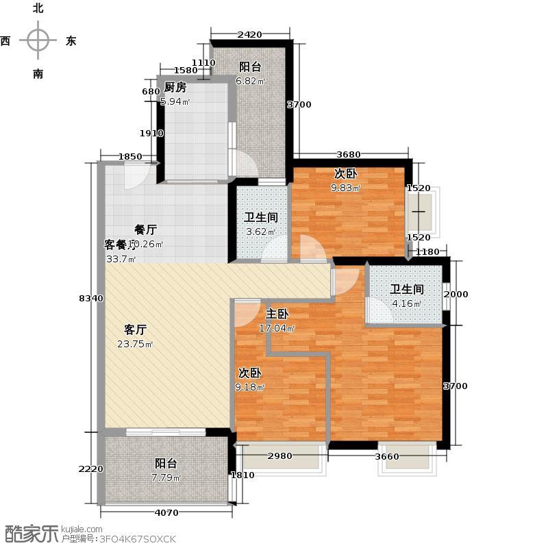 保利西海岸122.00㎡2-4#01户型3室2厅2卫