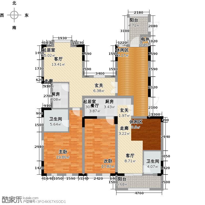 金地天悦湾169.00㎡23栋 户型平面图户型4室2厅2卫