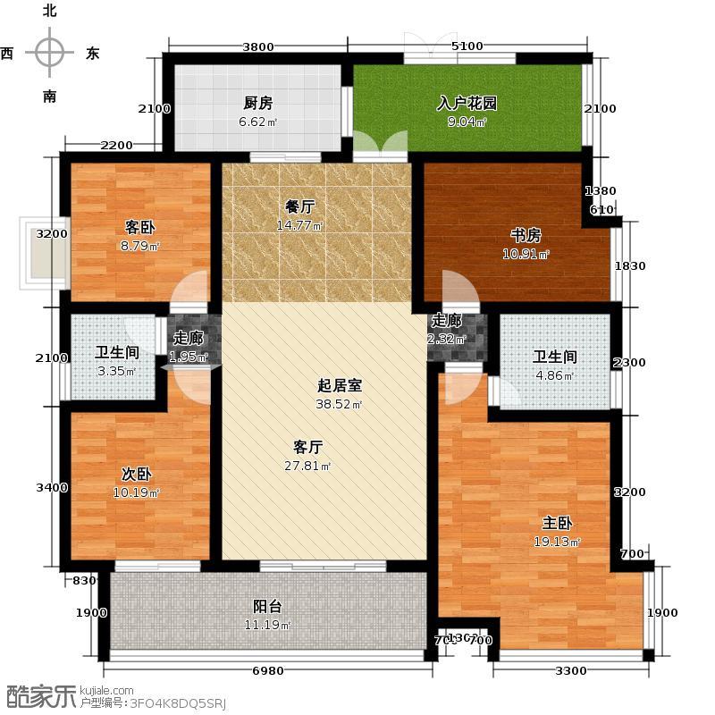 鲁能星城5街区4#楼4号房双卫+入户花园户型4室2卫1厨