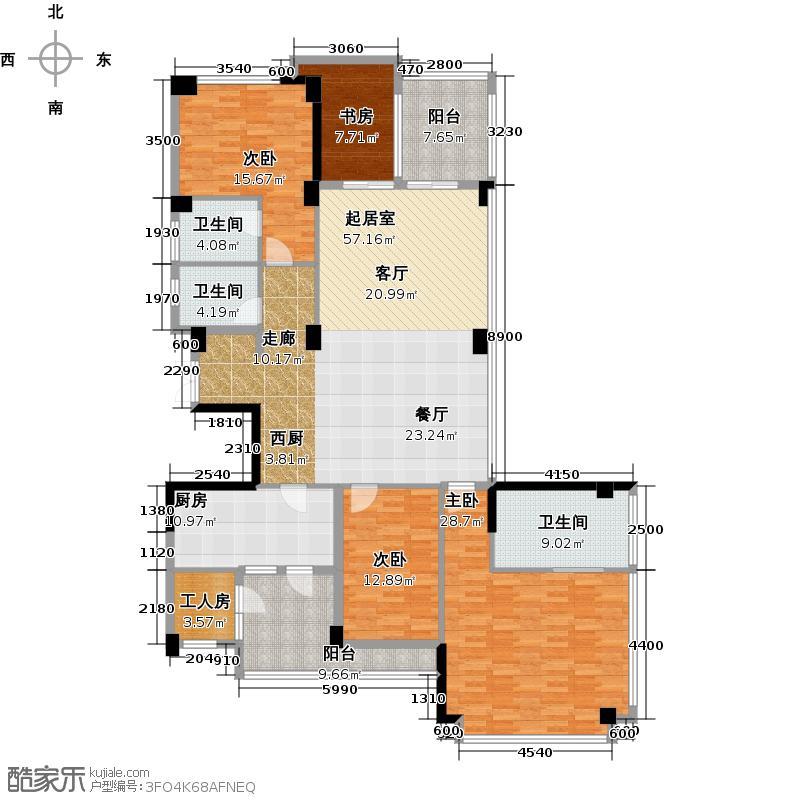 十五�花园191.00㎡E型2-16层4房2厅3卫户型