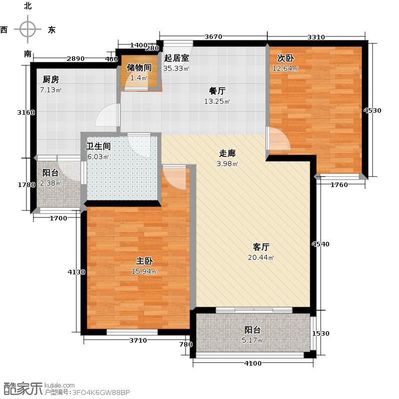 龙湖郦城雅居户型2室1卫1厨