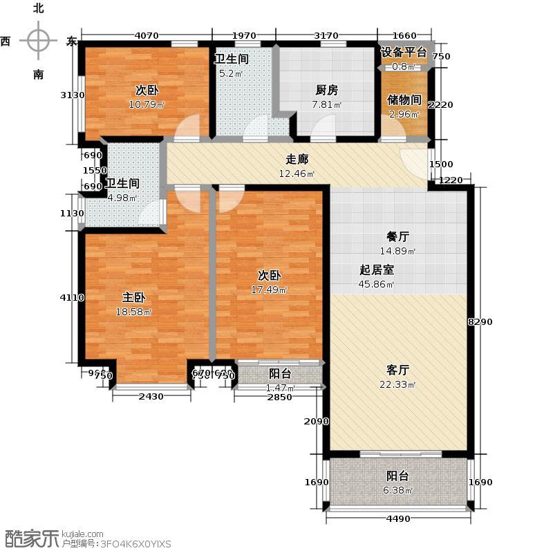 龙湖郦城户型3室2卫1厨