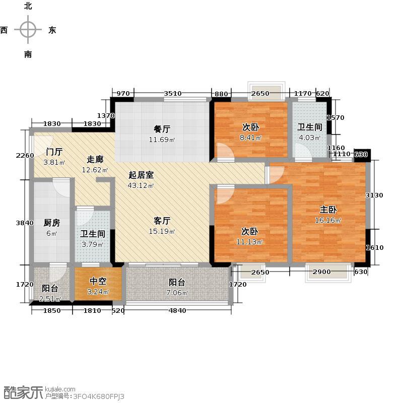 广州时代倾城116.00㎡2栋标准层06房户型3室2厅2卫