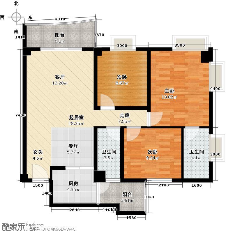 花城悦翠园户型3室2卫1厨