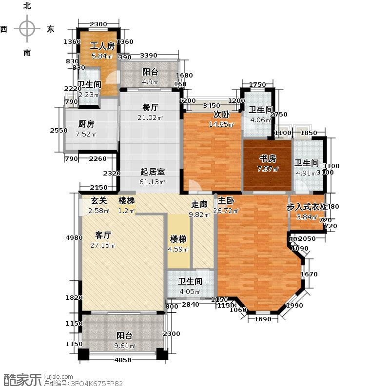 东湖洲花园户型3室4卫1厨