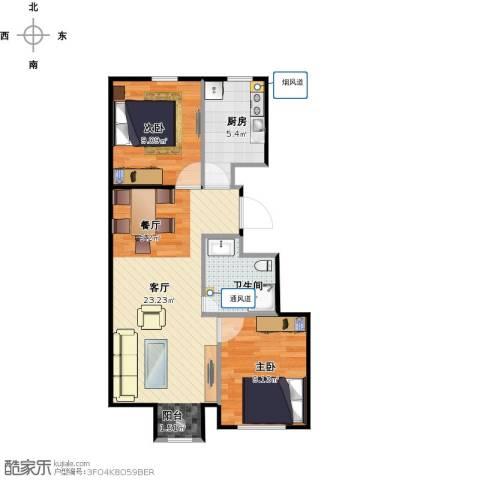 新源时代2室1厅1卫1厨69.00㎡户型图