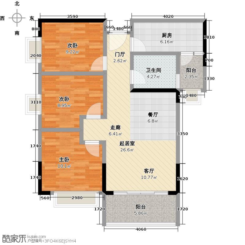 广州时代倾城84.00㎡2栋标准层02房户型3室2厅1卫