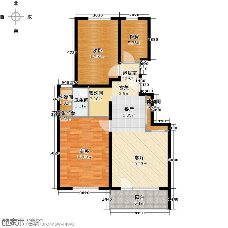 朗诗绿岛12号楼标准层户型2室1卫1厨