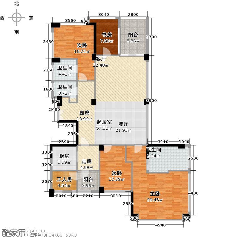 十五�花园191.00㎡E4-15层 4房2厅3卫户型