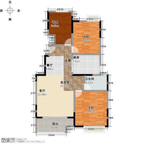 中粮南桥半岛3室0厅1卫1厨94.00㎡户型图