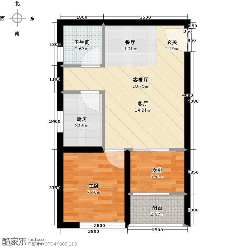 高家庄赞城公寓T3户型2室1厅1卫1厨