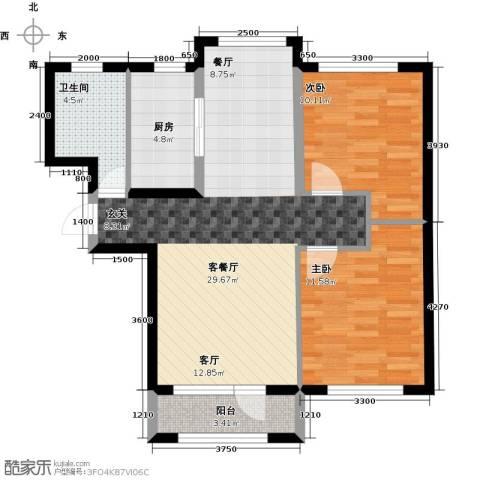 鸿玮澜山二期和院2室1厅1卫1厨85.00㎡户型图