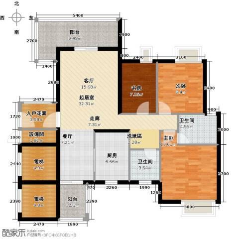 尚品雅居3室0厅2卫1厨121.00㎡户型图
