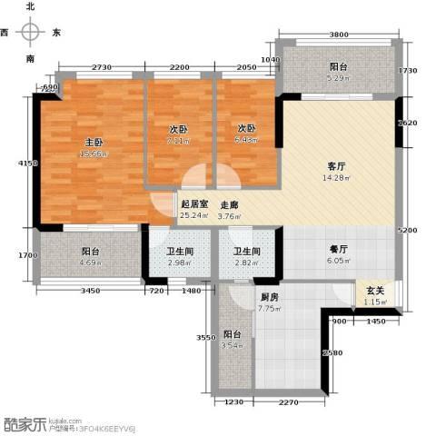 和黄懿花园3室0厅2卫1厨89.00㎡户型图
