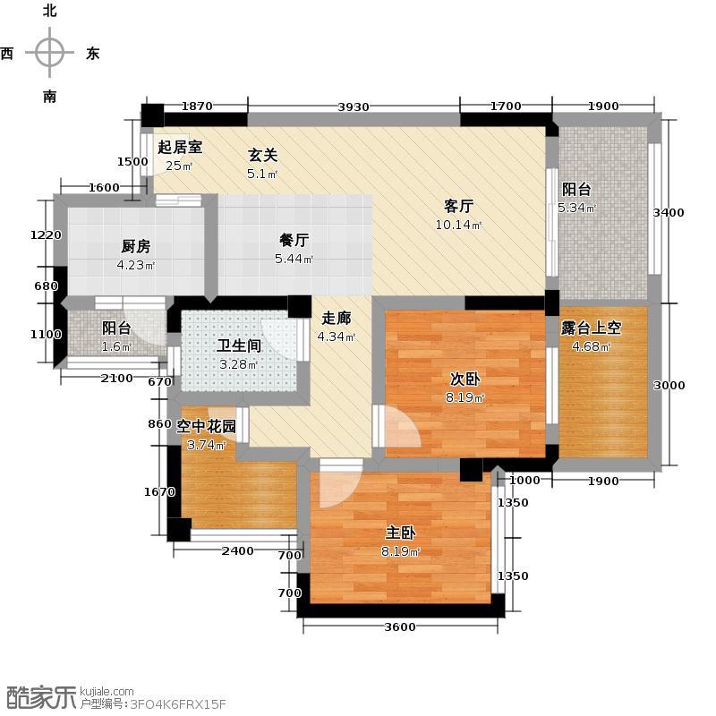 中粮锦云78.00㎡1F栋04单位2+1房2厅1卫户型3室2厅1卫