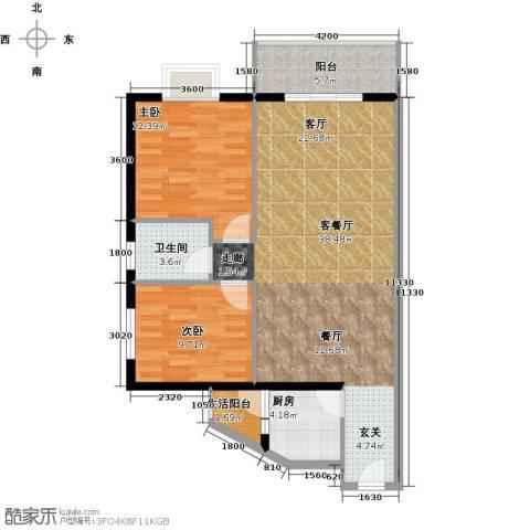 祥和御馨园二期2室1厅1卫1厨106.00㎡户型图