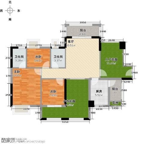 鑫月城3室1厅2卫1厨107.00㎡户型图