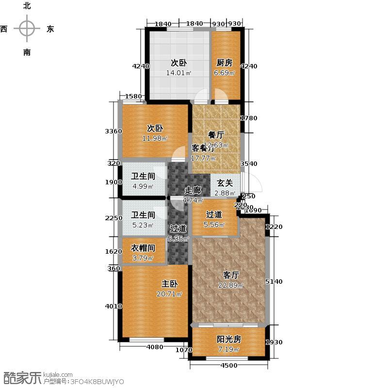 华远・和墅雅园J-1户型3室2厅2卫1厨