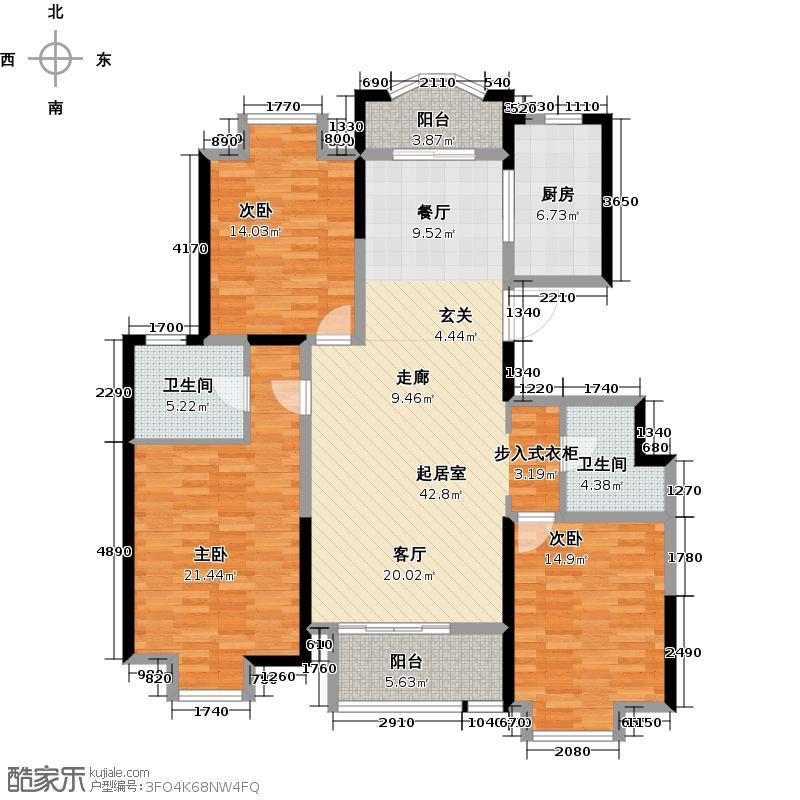 中南世纪城C3户型3室2卫1厨