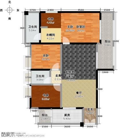 花滩国际新城丁香郡3室0厅2卫1厨110.36㎡户型图