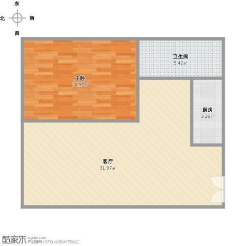 长风画卷1室1厅1卫1厨75.00㎡户型图