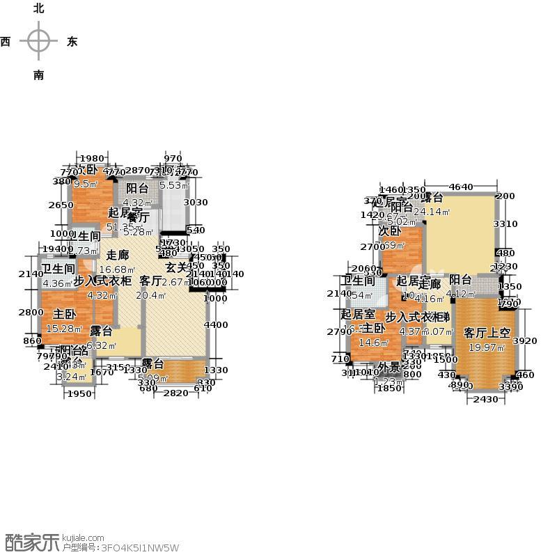 和泓四季一期洋房B型6F标准层户型2室3卫1厨
