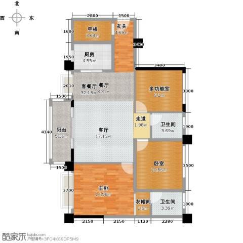 黄旗印象1室1厅2卫1厨125.00㎡户型图