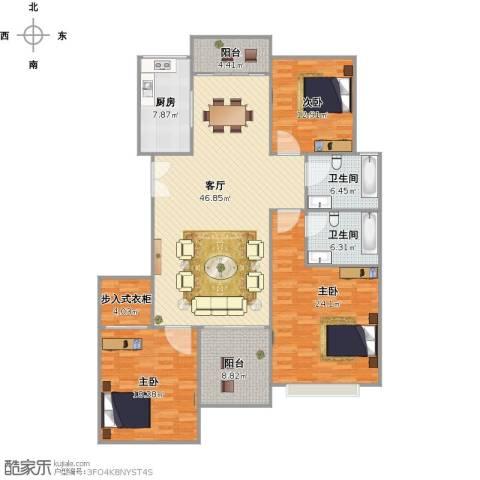 多蓝水岸银沙苑3室1厅2卫1厨187.00㎡户型图