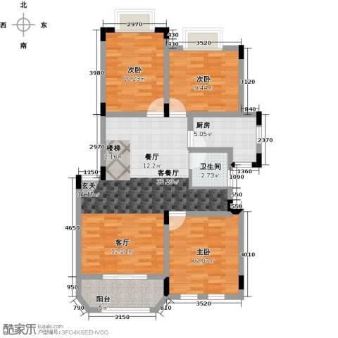 申亚花满庭3室1厅1卫1厨88.00㎡户型图