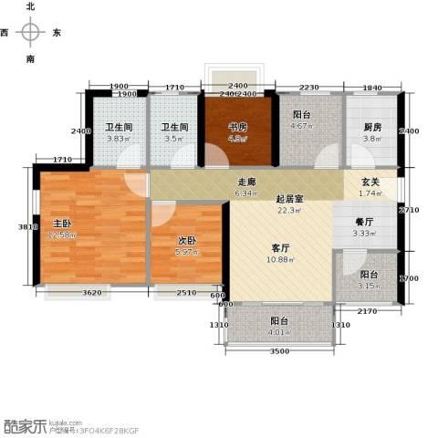 深业东城御园3室0厅2卫1厨85.00㎡户型图