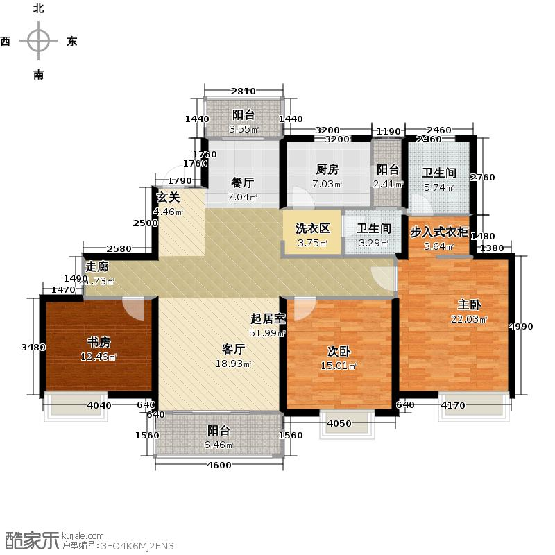 经纬泓汇地标家园C2户型3室2卫1厨