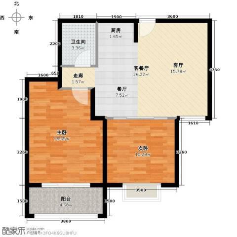 三亚南新悦城2室1厅1卫0厨77.00㎡户型图
