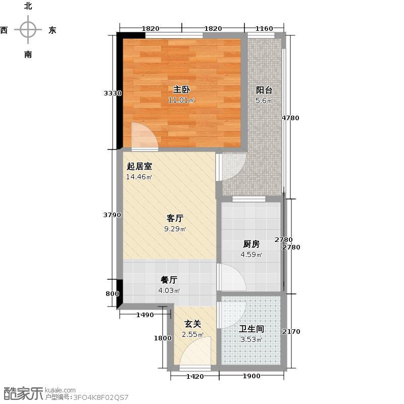 万千城江津国际商圈B8户型1室1卫1厨